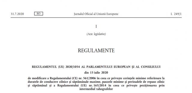 REGULAMENTUL (UE) 1054 din 15 iulie 2020